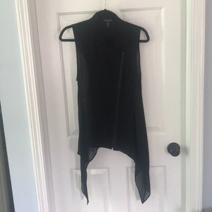 Eileen Fisher black silk zip front tunic.
